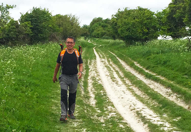 Steven Rose training for Across Wales Walk for shuktara