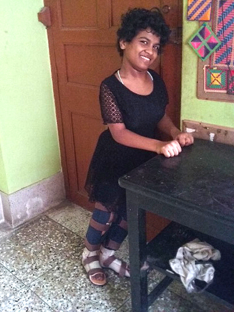 shuktara home for disabled girls - 2016 July - Prity standing