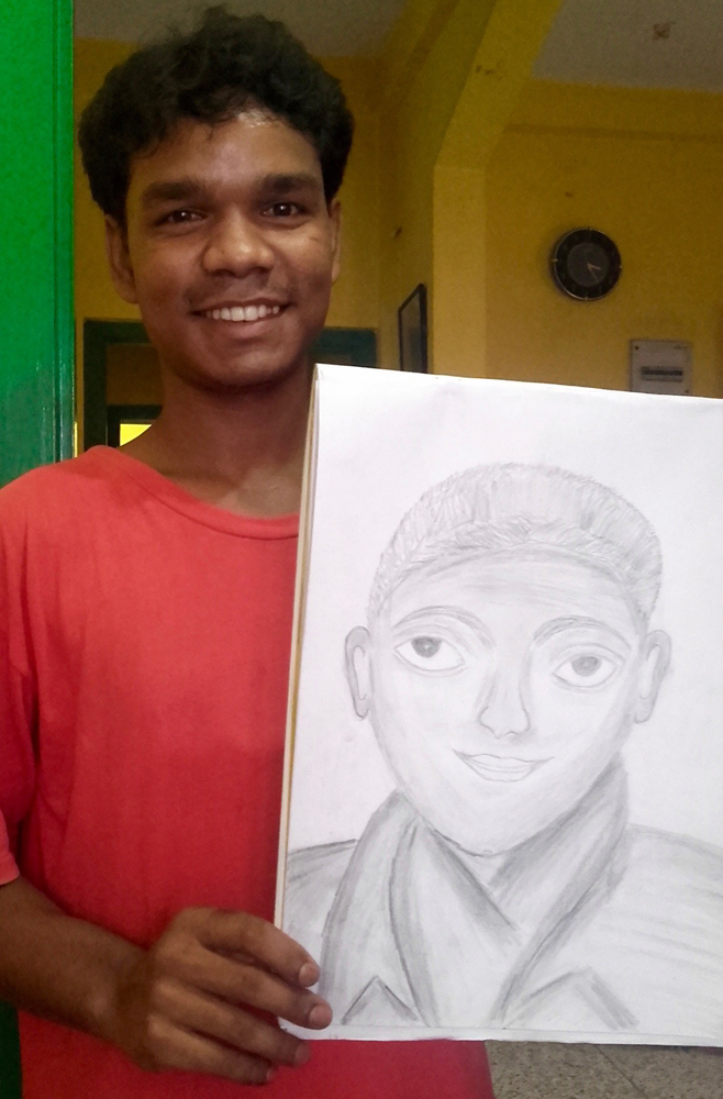 shuktara home for young adults with disabilities - 2016 July - Rajesh with his drawing