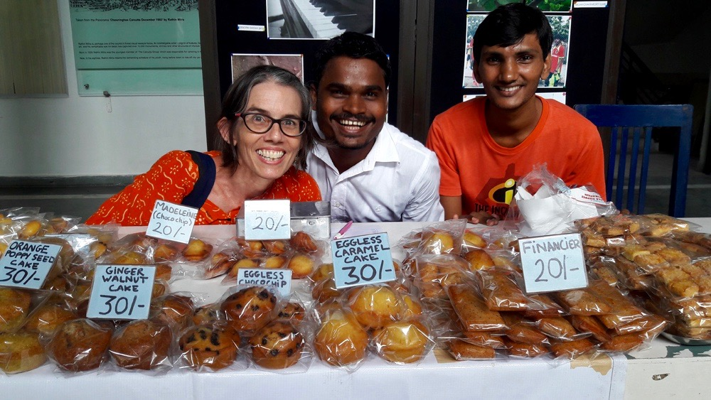 2016 September - Somnath and Pinku at the Calcutta International School selling Shuktara Cakes patisserie with Maura