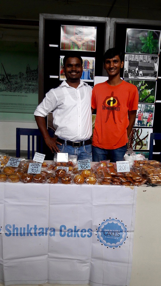 2016 September - Somnath and Pinku at the Calcutta International School selling Shuktara Cakes patisserie