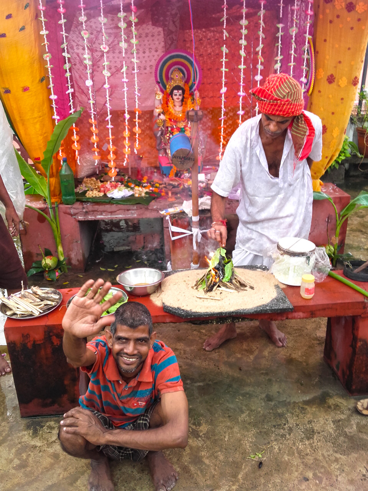 shuktara home for young people with disabilities - 2016 September - Vishwakarma Puja with Sunil on the roof