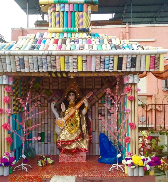 shuktara - pandel on roof - 2016 Saraswati Puja