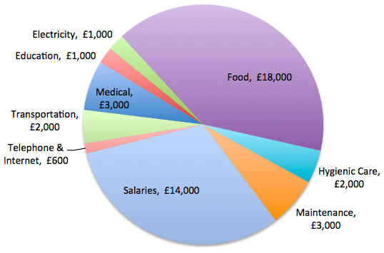 shuktara homes for young people with disability - Yearly shuktara expenses - chart