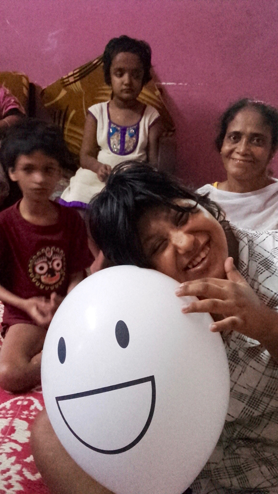 shuktara home for disabled girls - 2016 July Puja, Moni, Tookie maashi and Muniya (with balloon)