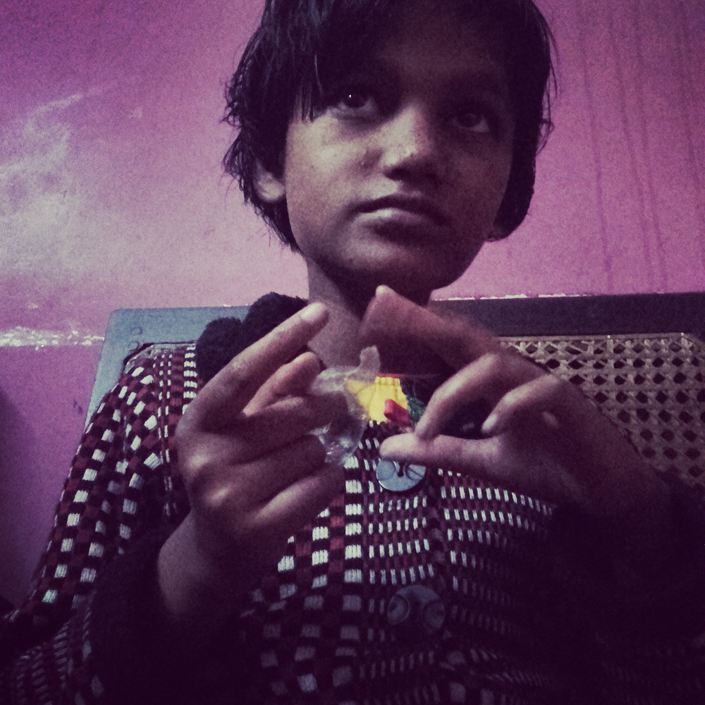shuktara home for disabled girls - 2017 January - Puja holds one of the letters brought from London