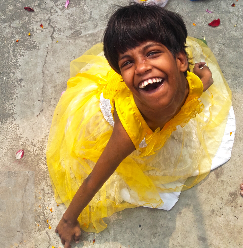 shuktara home for young people with disabilities - 2017 February - Guria in traditional yellow for Saraswati Puja