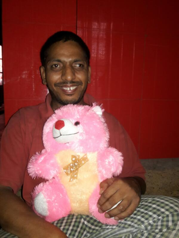 shuktara home for boys with disabilities - 2017 April - Bablu Lal with his teddy bear