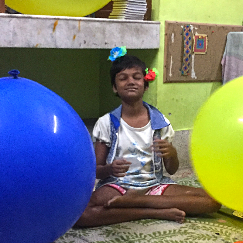 shuktara - 2017 October - Puja feeling very relaxed around the balloons