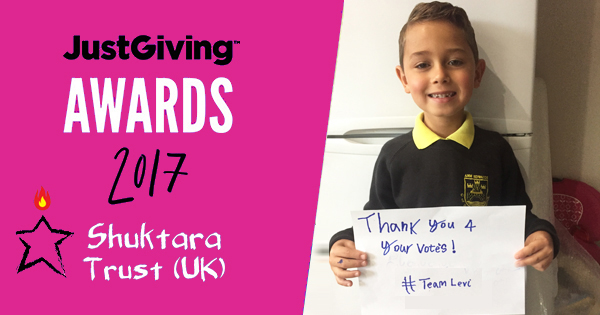 Levi is a finalist for JustGiving Young Fundraiser of the Year 2017