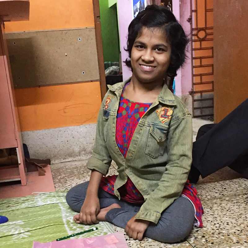 shuktara home for disabled girls - Prity studying at home