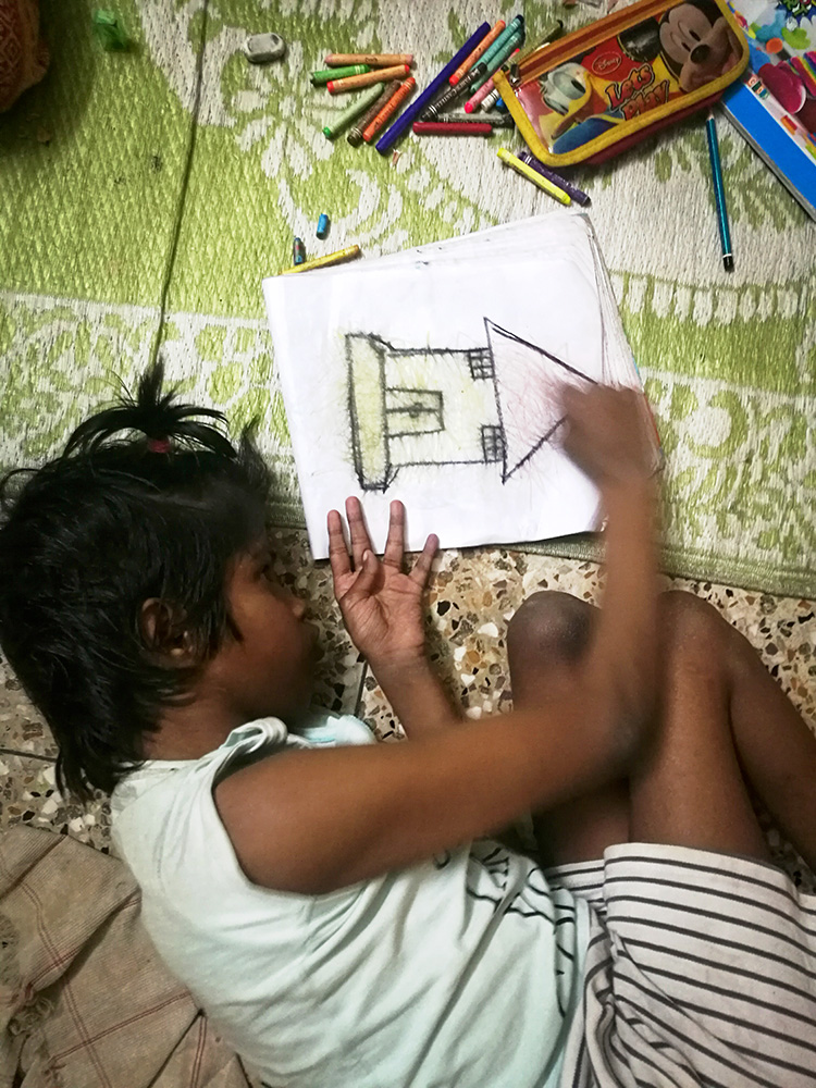 shuktara home for disabled girls - 2018 February - Guria drawing a house
