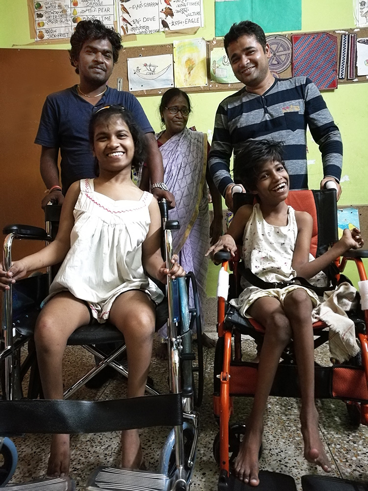 Lula Bari home for girls with disability - new wheelchairs for the girls