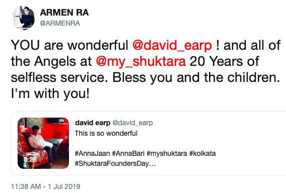 Armen Ra twitter quote for shuktara Founder's Day