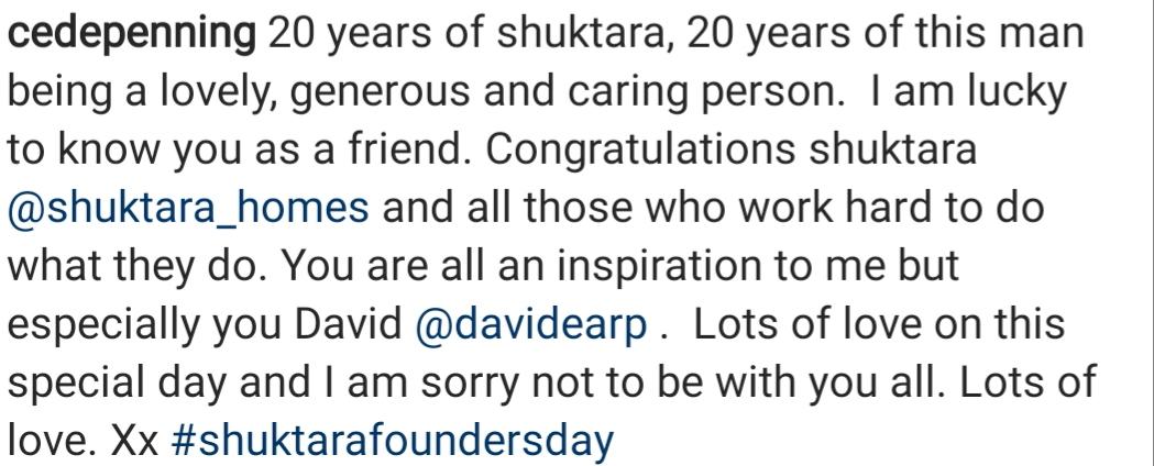 Caroline de Penning quote for shuktara Founder's Day