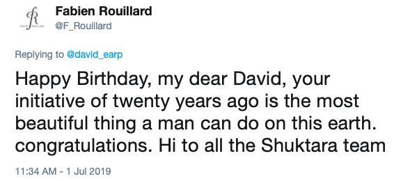 Fabien Rouillard twitter quote for shuktara Founder's Day