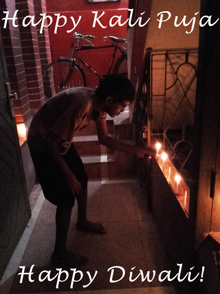 shuktara home for young adults with disabilities - Sunil lighting the Kali Puja candles