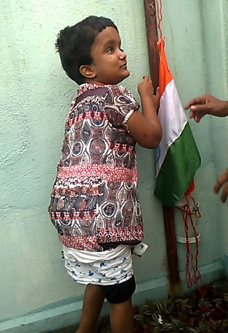 shuktara - Moni raising the flag 2015 Independence Day