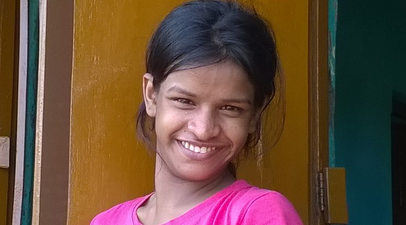 Lali in Puri, India with the shuktara girls