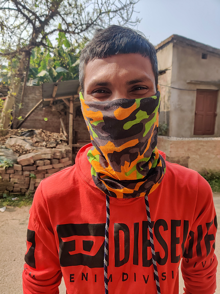 2021 Saraswati Puja - Pinku wears his mask