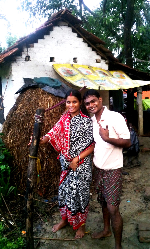 shuktara - Sanjay and his wife 2015 June in front of their house