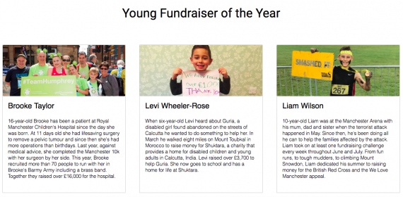 JustGiving Young Fundraiser of the Year 2017