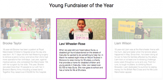 Choose Levi as JustGiving Young Fundraiser of the Year 2017