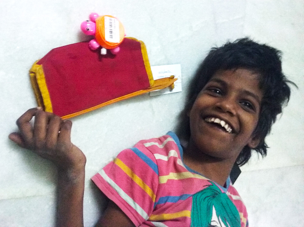 shuktara home for girls with disabilities - 2016 October - Guria receives a gift from Westside, courtesy Trent Tata