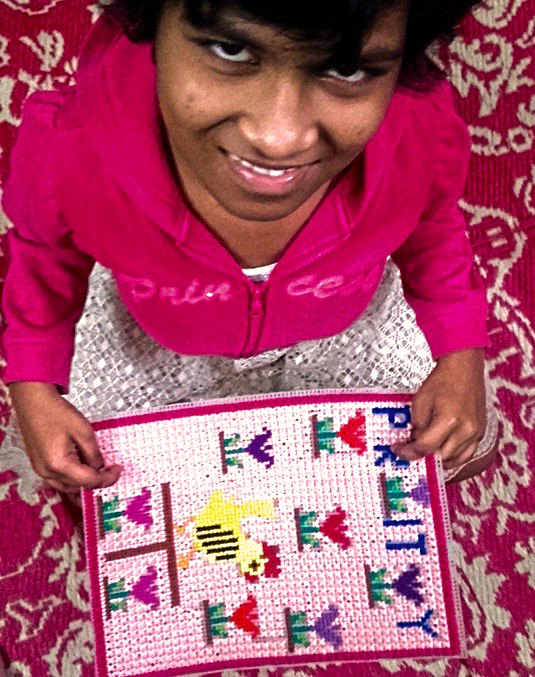 shuktara home for disabled girls - 2017 January - Prity finishes her sampler