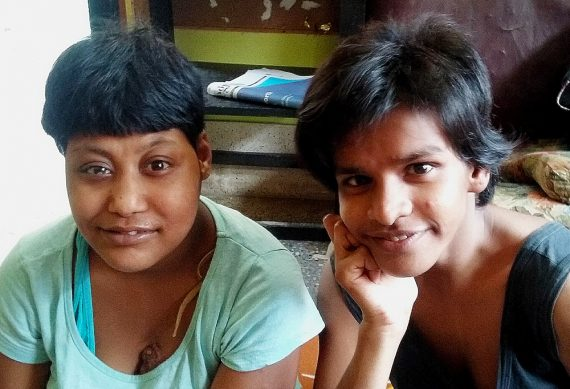 shuktara home for girls with disabilities - 2017 April - Muniya and Lali with their new haircuts