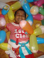 shuktara 2012 - Prity on Christmas covered in balloons