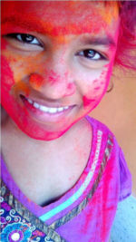 shuktara March 2015 - Prity with bright Holi powdered colours