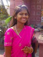 shuktara 2015 - Ipshita wearing a bright pink sari, Saraswati Puja