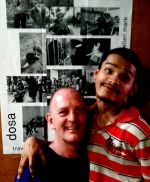 shuktara March 2016 - Ashok with David in front of dosa poster