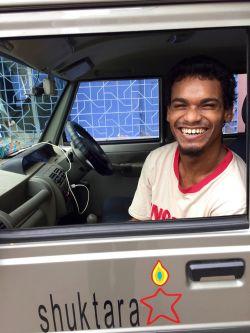shuktara home for young people with disabilities - 2016 July - Raju in shuktara car