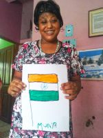 shuktara home for girls with disability - 2016 August - Muniya's drawing of the Indian flag