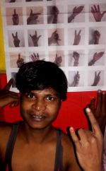 shuktara home for young adults with disability - 2016 October - Bapi with #BlackHands poster
