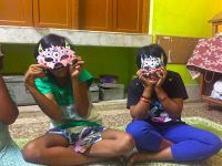 shuktara home for girls with disability - Diwali 2016 Lali and Muniya with their masks