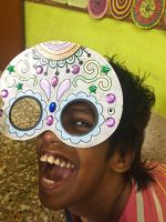 shuktara home for girls with disability - 2016 Diwali - Guria delighted by her mask