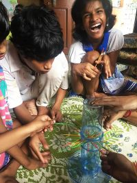 shuktara home for girls with disability - Diwali 2016 - making the masks