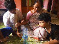 shuktara home for girls with disability - Diwali 2016 - Tamina, Maashi and Prity making the masks