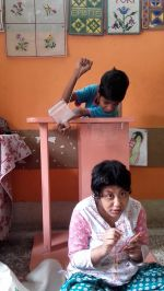 shuktara home for disabled girls - 2016 July - Guria watching Muniya