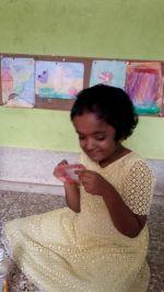 shuktara home for disabled girls - 2016 July - Moni carefully stitching