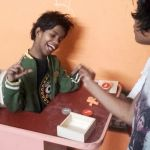 shuktara home for disabled girls - 2017 January - Guria is clearly delighted with the new biscuit shaped letters