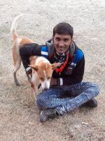 shuktara home for young adults with disabilities - 2017 January - Pinku with a canine friend on the sand