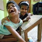 shuktara home for girls with disabilities - 2017 March - Guria sharing a laugh with Lali