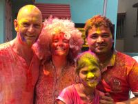 shuktara home for young people with disabilities - 2017 March Holi - David, Caroline, Pappu and Ipshita