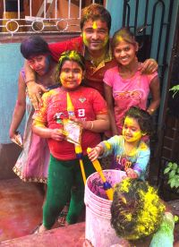 shuktara home for young people with disabilities - 2017 March Holi - Pappu and the girls