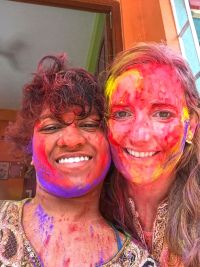 shuktara home for young people with disabilities - 2017 March Holi - Prity and Caroline
