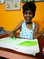 shuktara home for girls with disabilities - 2017 April - Guria drawing in her standing frame